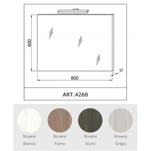Oglinda CORALLO 60x80cm, lampa LED, reversibila, Rovere Fumo