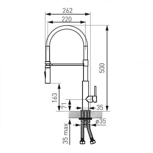 Baterie bucătărie cu pipă extractibilă și flexibilă Ferro LIBRETTO