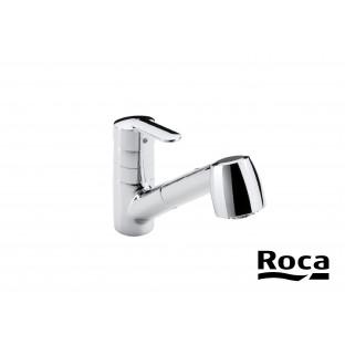 Baterie de bucătărie cu pipă rotativă retractabilă și funcție de pulverizare pentru clătire ROCA VICTORIA