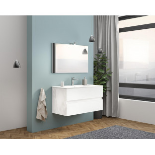 Set mobilier EASY 100cm, 2 sertare, oglinda, lampa Venus, alb